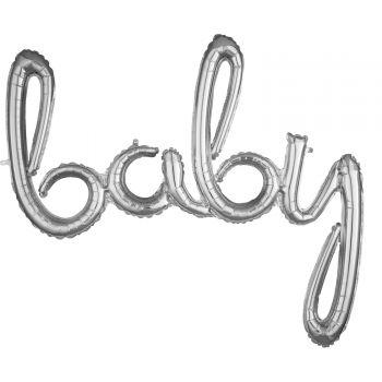 Ballon alu baby script argent