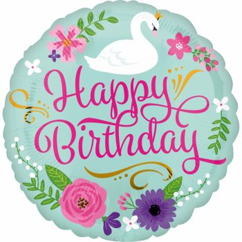 Ballon hélium Happy Birthday swan
