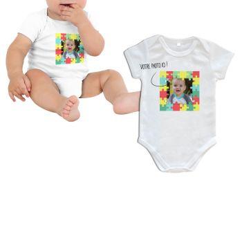 Body bébé personnalisé décor puzzle manche courte