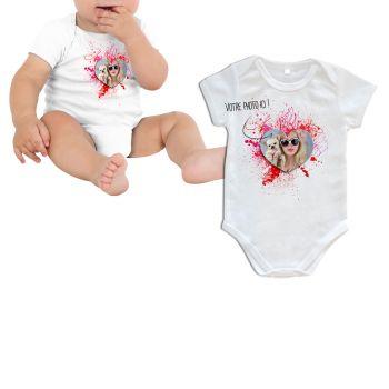 Body bébé personnalisé décor Amour manche courte