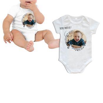 Body bébé personnalisé décor musique manche courte