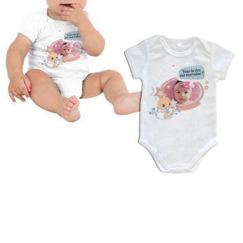 Body bébé personnalisé décor marraine manche courte