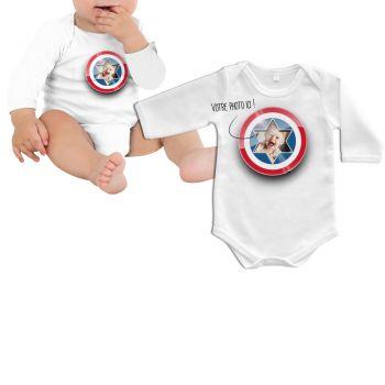 Body bébé personnalisé décor Capitain manche longue