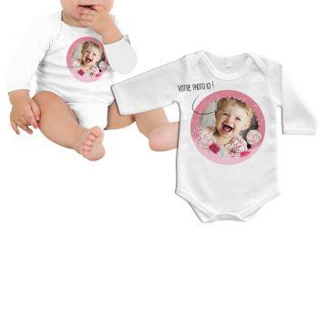 Body bébé personnalisé décor gourmandises manche longue