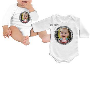Body bébé personnalisé décor black cupcakes manche longue