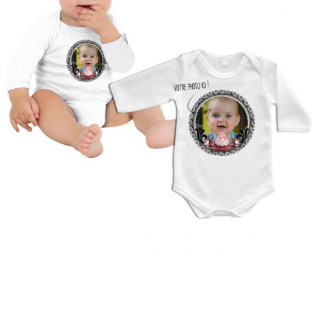 Body bébé manche longue à personnaliser avec vos propres images et photos personnelles ,aspect et toucher coton- Intérieur coton et...