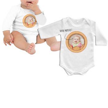 Body bébé personnalisé décor petits beurres manche longue