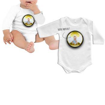 Body bébé personnalisé décor Batman manche longue