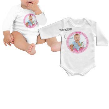 Body bébé personnalisé décor baby rose manche longue