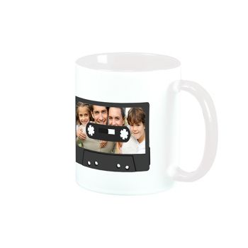 Mug blanc personnalisé décor cassette