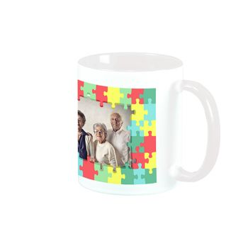 Mug blanc personnalisé décor puzzle