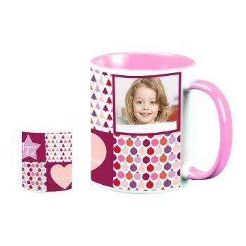 Mug personnalisé bicolore Amour de noël rose