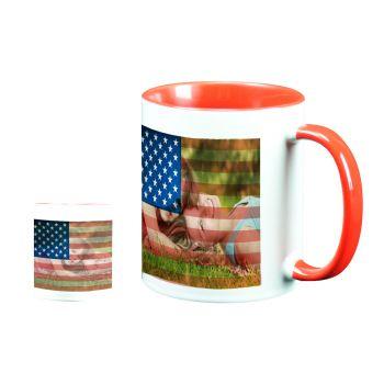 Mug personnalisé bicolore décor USA