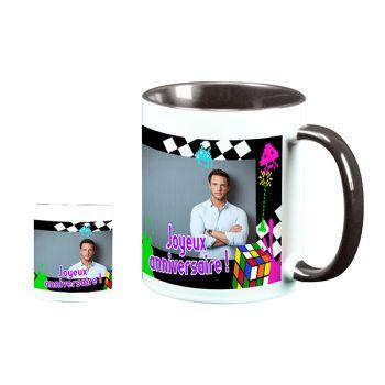 Mug personnalisé bicolore décor 80s
