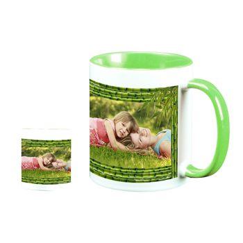 Mug personnalisé bicolore décor bambou