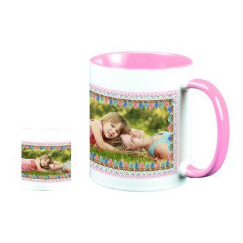 Mug personnalisé bicolore décor trio cupcakes