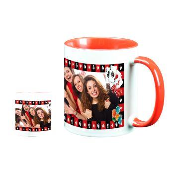 Mug personnalisé bicolore décor poker