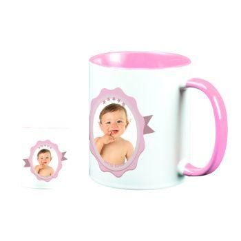 Mug personnalisé bicolore décor label rose