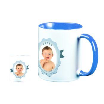 Mug personnalisé bicolore décor label bleu