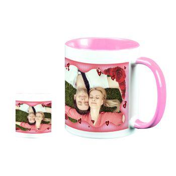 Mug personnalisé bicolore decor Coeurs et Roses