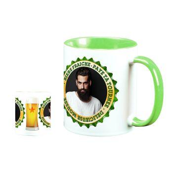 Mug personnalisé bicolore decor Bière