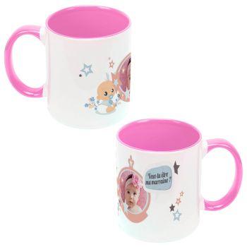 Mug personnalisé bicolore décor Marraine