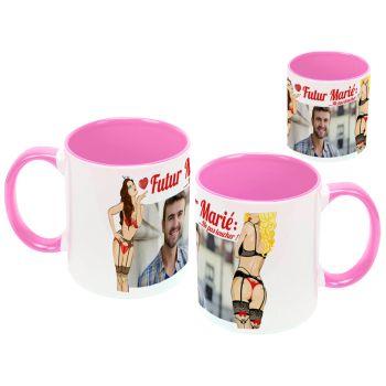 Mug personnalisé bicolore décor Stripteaseuse