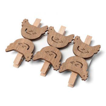 6 Pinces cocottes en bois ajouré