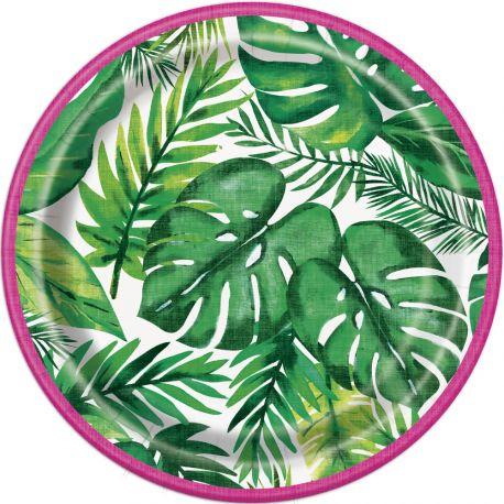 8 Assiettes à dessert en carton pour décoration de table Tropical Dimensions : Ø17cm