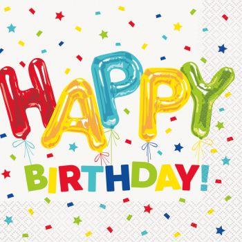 16 Serviettes Birthday ballons