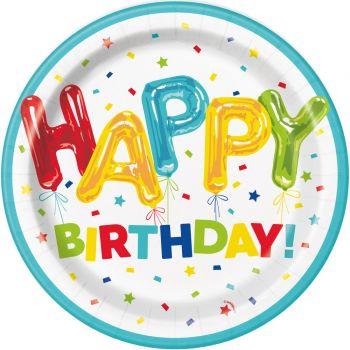 8 Assiettes Birthday ballons