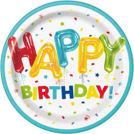8 assiettes en carton birthday ballons idéal pour une décoration de table d'anniversaire Dimensions : Ø23cm