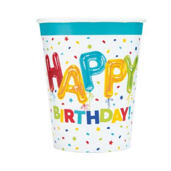 8 gobelets Birthday ballons