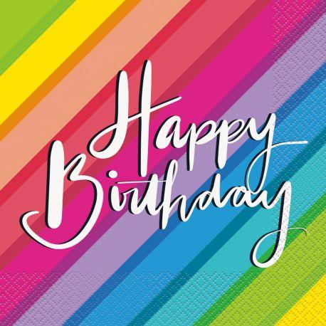 16 serviettes en papier rainbow birthday ballons idéal pour une décoration de table d'anniversaire Dimensions : 18cm x 18cm