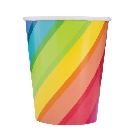 8 gobelets en carton rainbow birthday ballons idéal pour une décoration de table d'anniversaire Dimensions : Ø7.6cm x 13cm 20cl