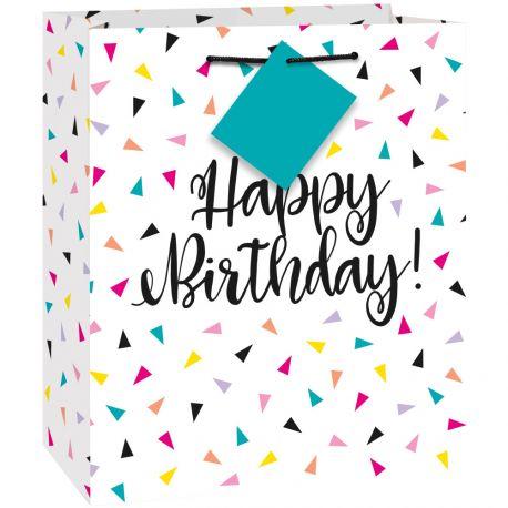 Sac cadeau Birthday triangle confettis idéal pour l'emballage de votre présent Matière plastique Dimensions: 25cm x 30cm