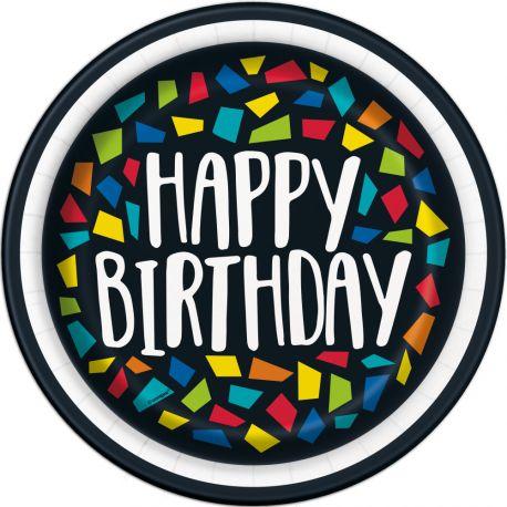 8 assiettes en carton Happy Birthday mosaic idéal pour une décoration de table d'anniversaire Dimensions : Ø23cm