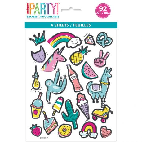 4 Feuilles de stickers Birthday favourite things