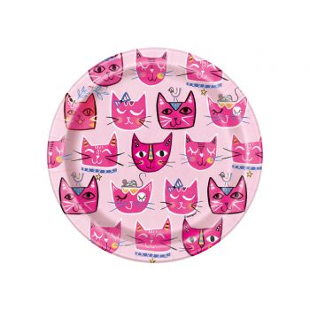 8 Assiettes dessert pink cats