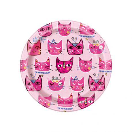 8 assiettes à dessert en carton pink cats idéal pour une décoration de table d'anniversaire Dimensions : Ø18cm