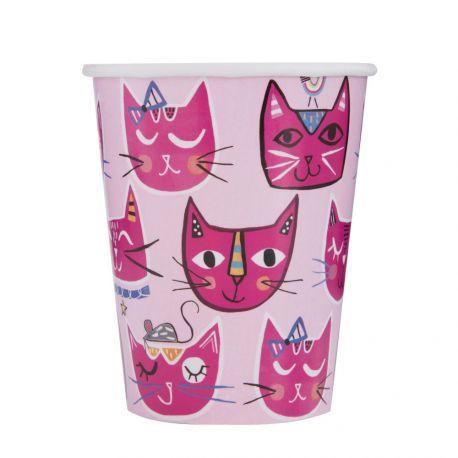 8 gobelets en carton pink cats idéal pour une décoration de table d'anniversaire rigolote Dimensions : 20cl