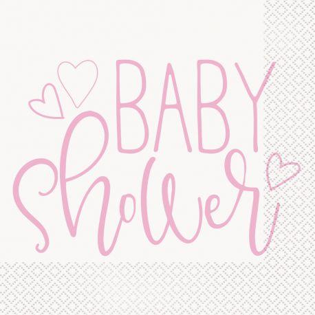 16 Serviettes papier baby shower love rose