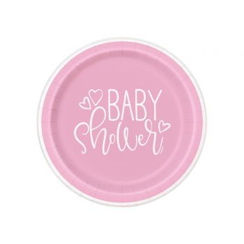 8 Assiettes dessert baby shower love rose
