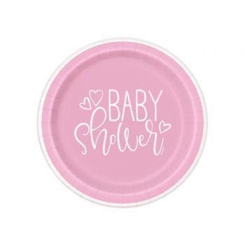 8 Assiettes dessert baby shower love rose