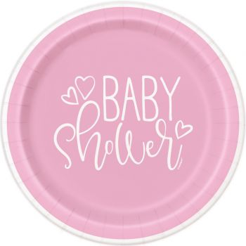 8 Assiettes baby shower love rose