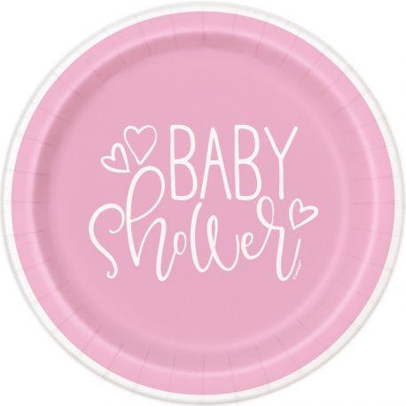 8 assiettes en carton love rose idéal pour une décoration de table de Baby Shower Dimensions : Ø23cm
