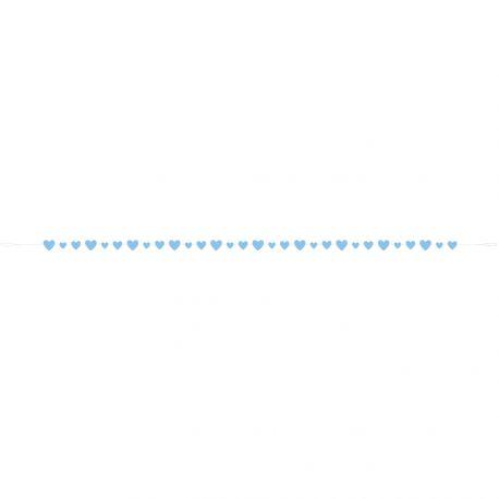 Superbe guirlande coeur love bleu en papier idéal pour une décoration de Baby Shower ou mariage Dimensions : 274cm