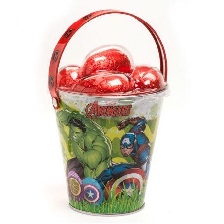 Seau en métal à l'effigie des Avengers livré avec 5 oeufs au chocolat au lait à cacher emballer individuellement Dimensions: 9.5 x 9.5 x...