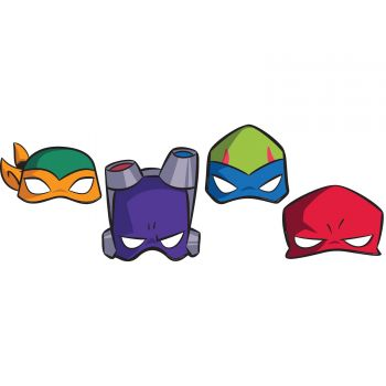 8 Masques de fête Tortue Ninja mutant