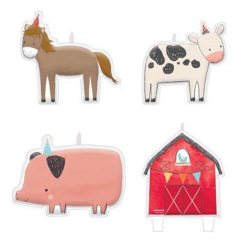 4 Bougies pics animaux de la ferme